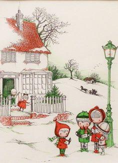 Vintage Christmas Caroling Friends, Children Print Illustration, 1960s Joan Walsh Anglund (Matted to Frame Immediately). $15.00, via Etsy.
