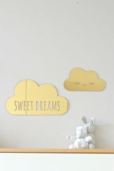 2 gold acrylic mirror puffy clouds sweet dreams by HopStudio