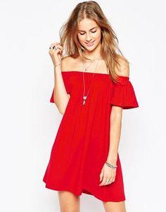Flirty red off the shoulder dress