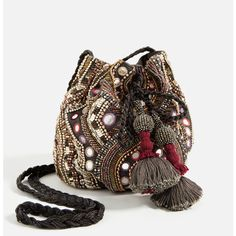 BEADED BUCKET BAG - NEW IN-WOMAN | ZARA United Kingdom (52 CAD) via Polyvore featuring bags, handbags, shoulder bags, brown shoulder bag, brown handbags, beaded purse, brown purse et beaded handbag