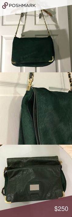 Alice and Olivia horsehair leather bag. Pre own. Auth Alice and Olivia horsehair leather bag. Pre own. Defect on back as shown in picture. No repair. No losing accessory.  Leather inside. Magnetic inside closure. 14 in 9in 5in Alice + Olivia Bags Shoulder Bags