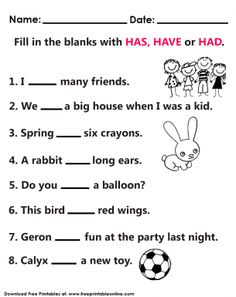 Fully customize any of our Kids Worksheets by utilizing the fun tools that we offer. This Has Have Had Worksheet image is free to print out. English Grammar For Kids, Learning English For Kids, Teaching English Grammar, English Worksheets For Kids, 2nd Grade Worksheets, English Lessons For Kids, English Vocabulary Words, Learn English Words, Grammar Lessons