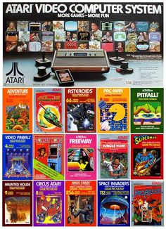 The childhood memories contained in this ad! Vintage Video Games, Classic Video Games, Retro Video Games, Video Game Art, Retro Games, Vintage Games, Arcade Retro, Atari Video Games, Pc Engine