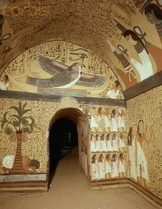 """ancient-egypts-secrets: """" Mural paintings in tomb of Peshedu. Peshedu was a 'Servant In the Place of Truth', Deir el-Medina, during the Ramesside Period. His tomb, which is situated high on the. Ancient Egyptian Paintings, Ancient Egyptian Jewelry, Egyptian Art, Ancient Egyptian Tombs, Ancient Greek, Ancient Egypt Architecture, Architecture Antique, Architecture Art, Ancient Egypt Fashion"""