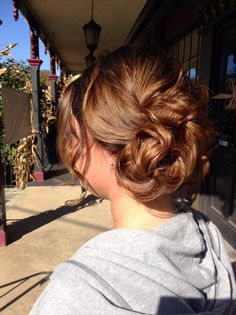 #sidebun #curls #updo #messy #elegant #brown #prom done by Lauren Then at #skippackstylekrafters