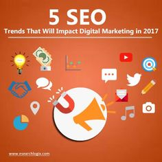 5 SEO TRENDS THAT WILL IMPACT DIGITAL MARKETING IN 2017  While Search Engine Optimization (SEO) seems a simple concept, it is not so. Digging deep, we can uncover that it contains a large complex infrastructure of algorithms, search patterns, device-familiarities, and more. Visit: https://www.esearchlogix.com/2016/12/26/5-seo-trends-that-will-impact-digital-marketing-in-2017/  #SeoServiceIndia #seoCompanyIndia