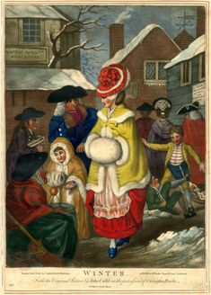 Satire: a woman and her daughter wearing fur coats and muffs walking in a street with snow; behind them fighting school boys and a boy carrying a toboggan.  c.1778/9  Hand-coloured mezzotint
