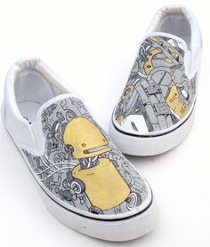 Shoes Robot hand painted customs, grey, white and black