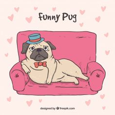 Elegant pug concept with hand drawn style Free Vector