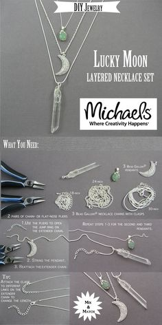Create 3 or more necklaces to layer using chains, crystals and charms                                                                                                                                                                                 More