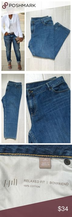 """J Jill Boyfriend Jeans Relaxed Fit Size 18 petite. 100% cotton. Boyfriend jeans relaxds fit. Waist band laying flat approximately 19"""" and inseam 28"""". First photo not actual item * just showing for style! J. Jill Jeans Boyfriend"""