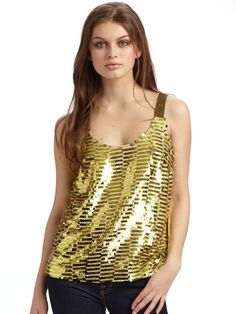 Cynthia Steffe Payton Sequined Tank Top in Gold - Lyst Sequin Tank Tops, Metallic Gold, Stuff To Buy, Clothes, Women, Fashion, Outfits, Moda, Clothing