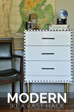 DIY Modern Ikea Rast Hack - Mad in Crafts  @hickoryhardware @pghpaintsstains