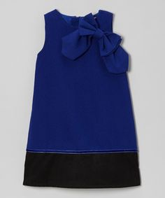 Take a look at this Royal Blue Bow Shoulder A-Line Dress - Toddler & Girls on zulily today!