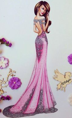 Being well dressed is a beautiful form of confidence, happiness & politeness Dress Design Sketches, Fashion Design Drawings, Fashion Sketches, Couture Fashion, Fashion Art, Fashion Models, Fashion Illustration Dresses, Fashion Illustrations, Illustration Mode