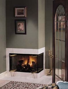Corner fireplace village two sided
