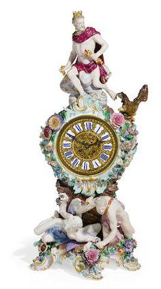 A large Meissen porcelain mantel clock late 19th century