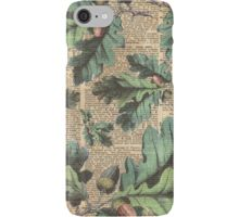 iPhone Case/Skin Oak Tree Leaves And Acorns, Autumn Vintage Dictionary Art Moro