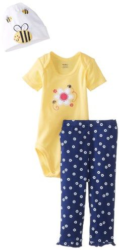 Gerber Baby-Girls Newborn 3 Piece Girls Bodysuit Cap Pants, Daisy Bee, 0-3 Months Gerber