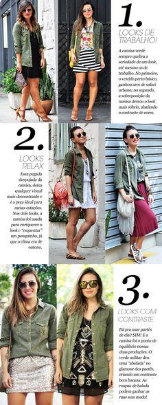 A blogueira Carol Burgo nos mostra a versatilidade da Camisa militar!!! Todos os looks ganharam personalidade com a camisa!