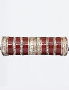 Indian Bangles Bridal Chura-Chooda - Sparkling and shining Wedding bridal chura-chooda in maroon color embellished with dazzling stones all over. Glittering and dazzling wedding bridal chura- chooda fro the bride!