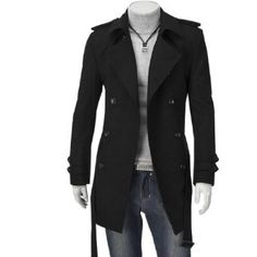Men NEW Double Breasted Button-tab Patch Pockets Casual Fleece Coat Black S: Amazon.co.uk: Clothing