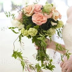 Don't like the draping vines, but love the roses and the natural look with all the greens!