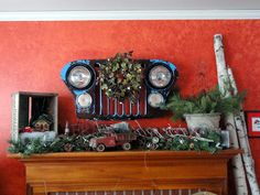 My Christmas mantle using some Funky Junk.  My fave piece is the Jeep CJ-5 grill