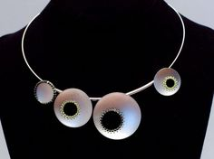 Chihiro Makio -  Multi Circle Necklace:  sterling silver, hand-stitched glass beads