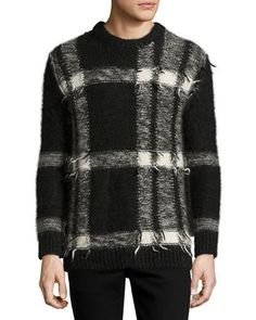 BURBERRY Large Check Intarsia Mohair-Blend Sweater, Black/White. #burberry #cloth #