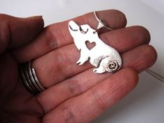Silver Piglet Necklace with Heart Unique and Handmade | GildedOwlJewelry - Jewelry on ArtFire