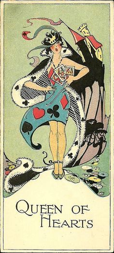 Alice in Wonderland: The Queen of Hearts Bridge Tally 1920s. ♠ ✦ ♣ ♥
