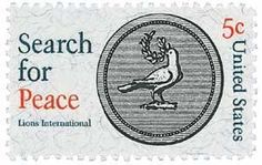 """#1326 - 1967 5c """"Search for Peace"""" - Lions U. S. Postage Stamp Plate Block (4) . $0.35"""