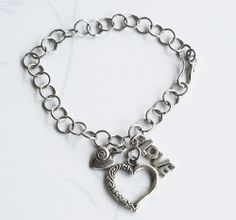 Love Heart Charm Silver Plated Chain Bracelet Adjustable Special Promotion