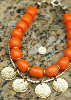 Custom Orange Resin and Gold Coin Statement Necklace Contact me if you are interested in this necklace