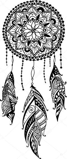 Descargar - Atrapasueños mandala dibujado a mano con plumas. Ilustración étnicos, tribal, americano símbolo tradicional de los indios — Ilustración de stock #87342588