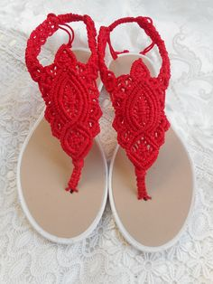 Red macrame sandals