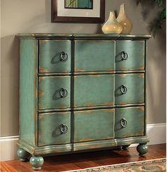 Hand-painted Distressed Blue/Green Accent Chest - Contemporary ...