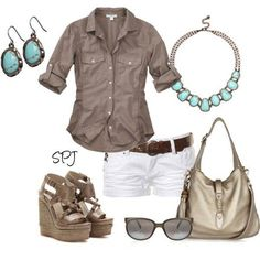 #Casual Outfit -bronze & turquoise nice color combo. Metallic bags aren't me so I'd swap it out for something more natural with texture.