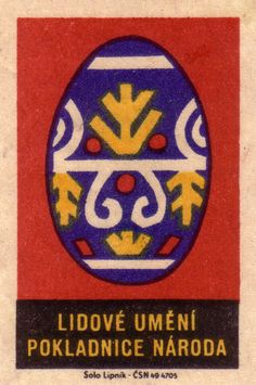 Traditional Easter egg designs matchbox label series 1963 | Made in Czechoslovakia