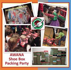 Simply Shoe Boxes: Operation Christmas Child Shoe Box Packing Party Memories -- many tips on setting up a shoe box packing party.