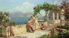 Figures On A Terrace In Capri  Painting by Robert Alott