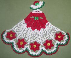 New Hand Crocheted Christmas Crinoline Lady Doily - Poinsesttias AFATC
