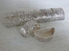 Vintage  1920's Silver Napking Rings.