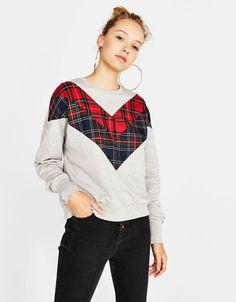 Bershka United States - Contrasting tartan sweatshirt