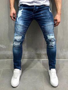 Biker Jeans Random Ripped - Blue Cargo Jeans 3f9a46617ea5