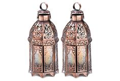 These dangling from the trees above to light the path, yes please :-) - One Kings Lane - By the Lake - S/2 Moroccan Lanterns, Copper