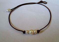 Freshwater 3 Pearl and Genuine Leather choker/necklace #1 New Release on Amazon