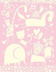 PINK WHIMSICAL ANIMALS PATTERN PRINT - slon
