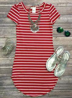 On the Horizon Tunic Dress: Red
